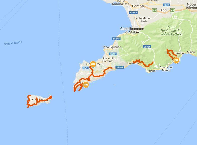 Cartina Costiera Amalfitana E Capri.La Costiera Amalfitana E L Isola Di Capri