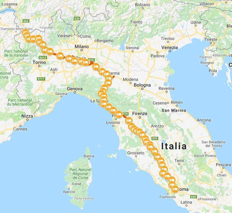 Cartina Italia Asti.The Complete Italian Via Francigena