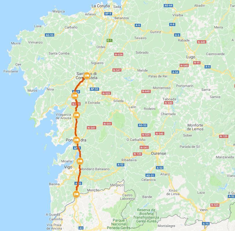 Portogallo Spagna Cartina.Il Cammino Portoghese Da Tui
